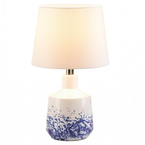 White and Blue Splash Porcelain Table Lamp