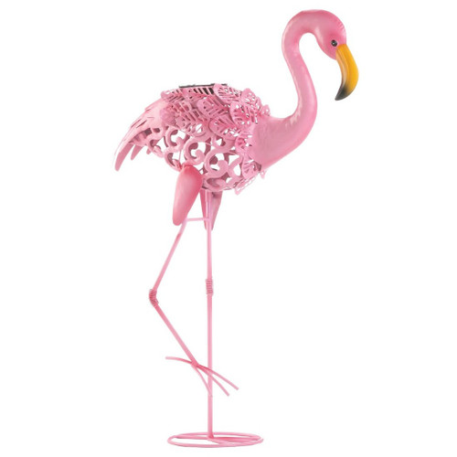 Solar Lighted Flamingo Yard Art - Leaning