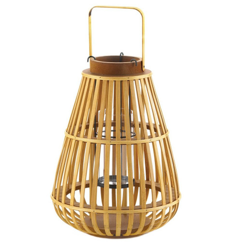 Slat Wood Candle Lantern - 14 inches