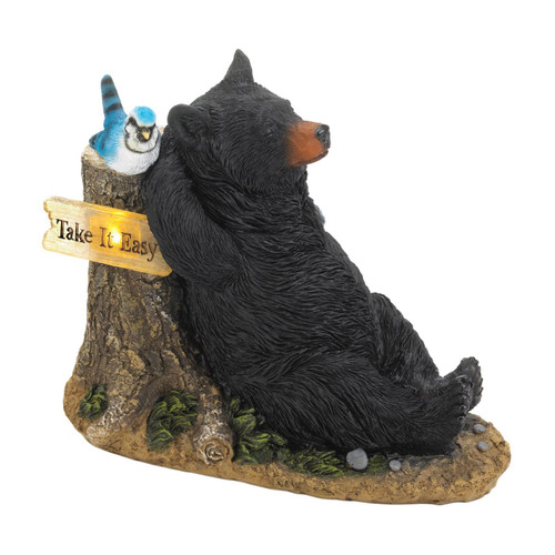 Lounging Bear with Bluebird Solar Garden Light
