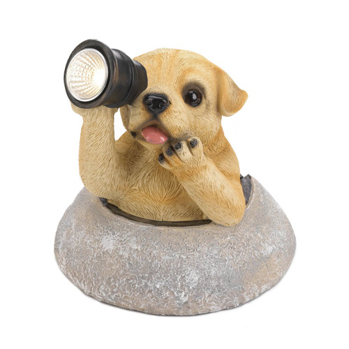 Dog with Telescope Solar Garden Light
