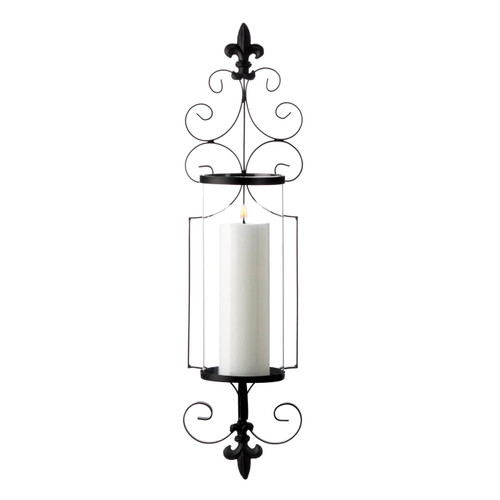 Fleur de Lis Metal Wall Sconce with Glass Cylinder