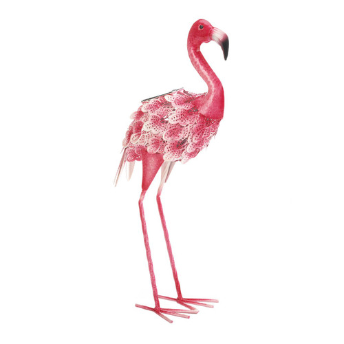 Solar Light-Up Pink and White Metal Flamingo Garden Decor
