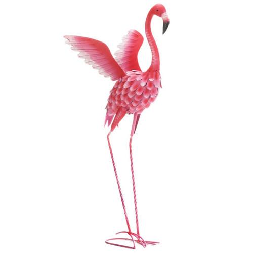 Flying Flamingo Metal Garden Decor - 37.5 inches