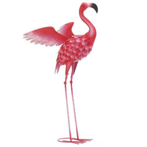 Flying Flamingo Metal Garden Decor - 34 inches