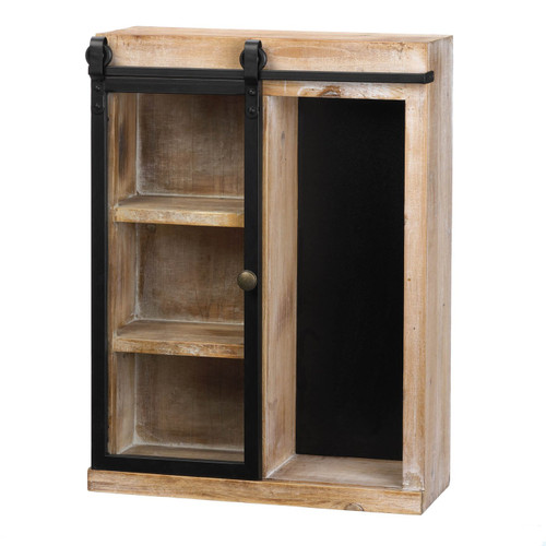 Rustic Open Wall Cabinet with Chalkboard Back and Glass Barn Door