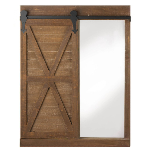 Chalkboard and Mirror Wall Decor with Barn Door