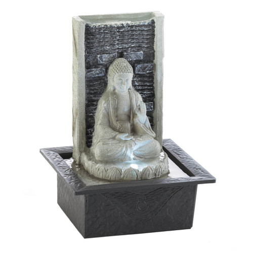 Stone-Look Buddha Lighted Tabletop Water Fountain