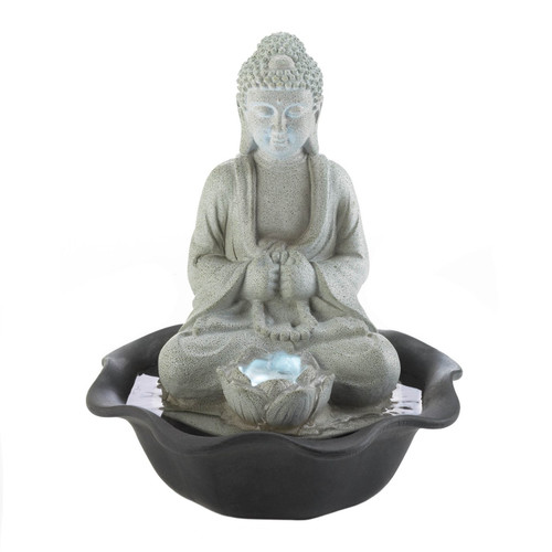 Stone-Look Buddha and Lotus Lighted Tabletop Water Fountain