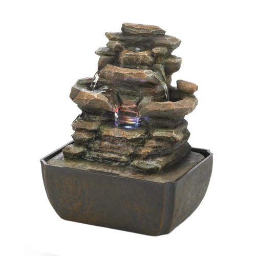 Tiered Rock Formation Lighted Tabletop Water Fountain