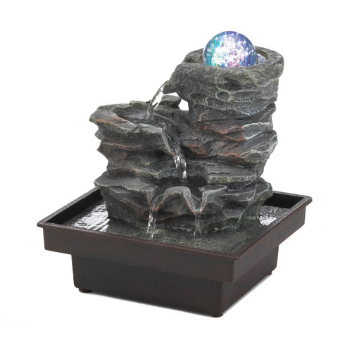 Rock Formation Tabletop Water Fountain with Lighted Glass Orb