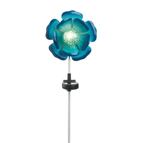 Solar Lighted Garden Stake - Blue Flower
