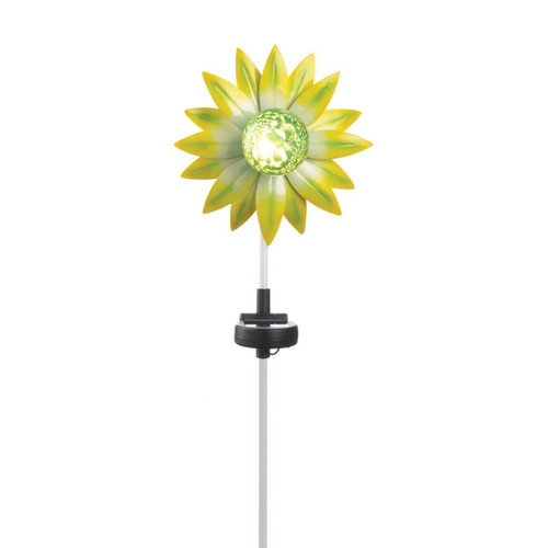 Solar Lighted Garden Stake - Green and Yellow Flower