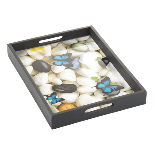 Wood Frame Butterfly Serving Tray
