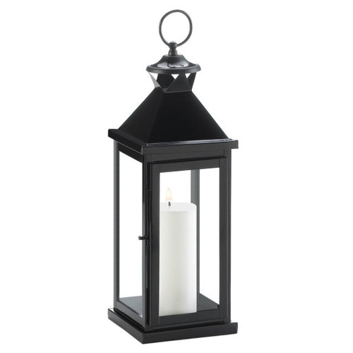 Glossy Black Metal Candle Lantern - 17.5 inches