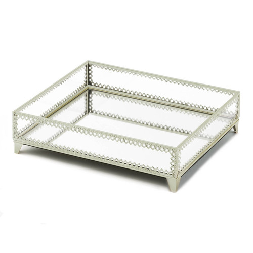 Silver Jewelry Tray with Mirrored Base