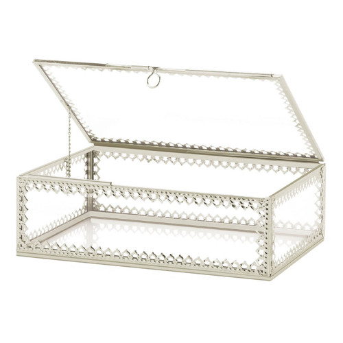 Glass Jewelry Box with Silver Frame