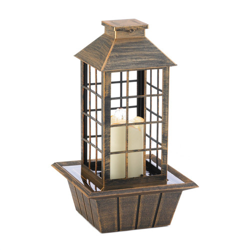 LED Candle Lantern Tabletop Water Fountain - Brushed Bronze