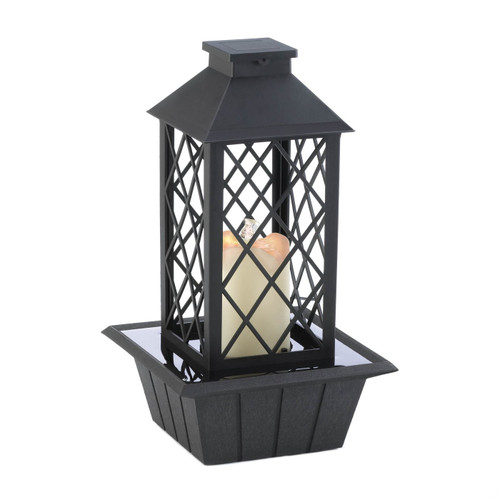 LED Candle Lantern Tabletop Water Fountain - Black