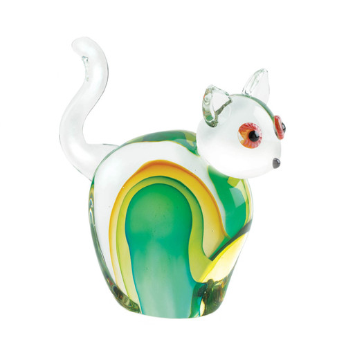 Art Glass Figurine - Green and Yellow Cat