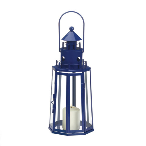 Metal Lighthouse Candle Lantern - Dark Blue