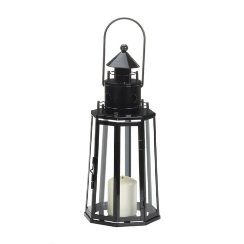 Metal Lighthouse Candle Lantern - Black