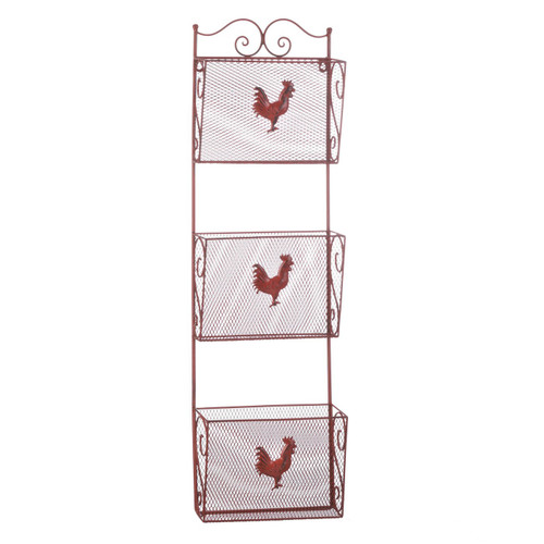 Red Rooster Triple Basket Metal Kitchen Organizer
