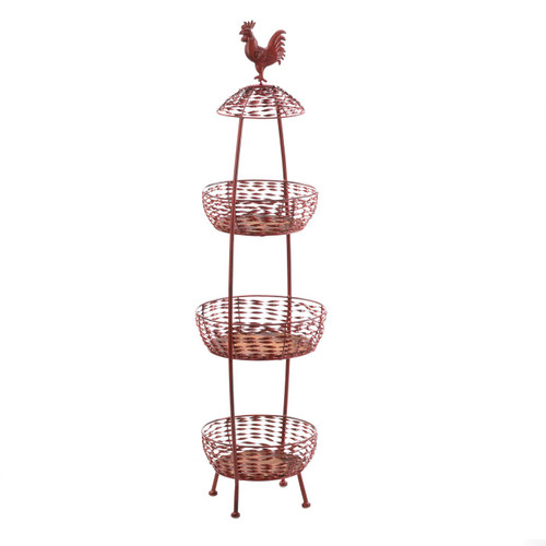 Red Rooster Metal 3-Tier Basket Stand