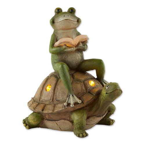 Frog Reading on Turtle Solar Garden Light