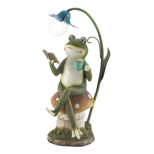Frog Reading on Mushroom Solar Garden Light