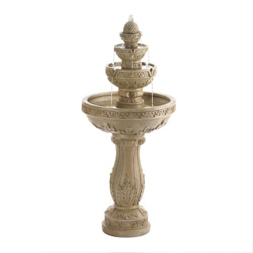 Four-Tier Stone-Look Garden Water Fountain