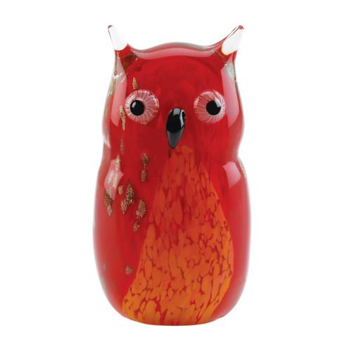 Art Glass Figurine - Red Owl