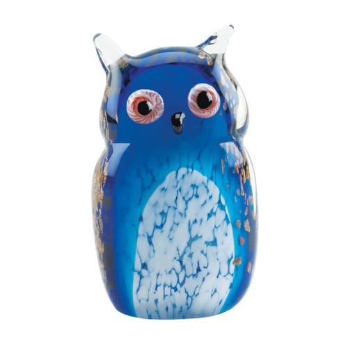 Art Glass Figurine - Blue Owl