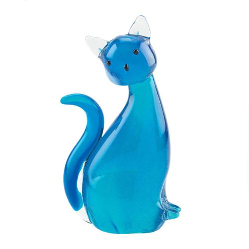 Art Glass Figurine - Blue Cat