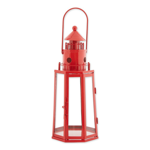 Metal Lighthouse Candle Lantern - Red