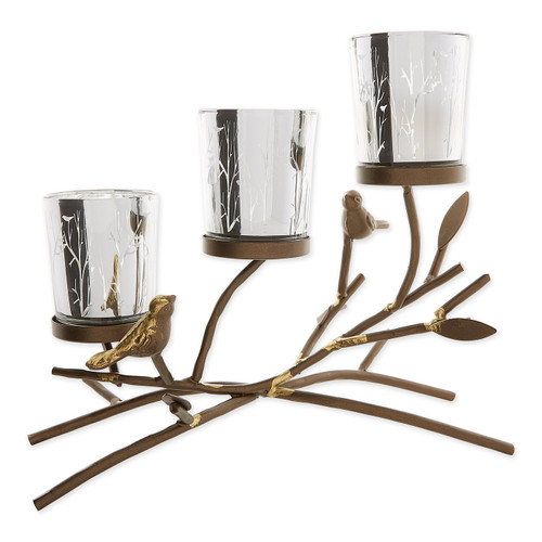 Birds and Branches Triple Tealight Candle Holder