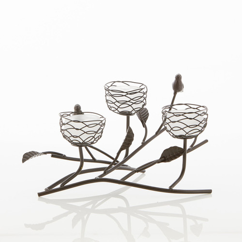 Birds and Branches Triple Nest Tealight Candle Holder