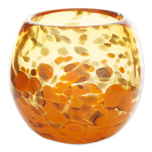 Glass Vase or Decorative Bowl - Orange