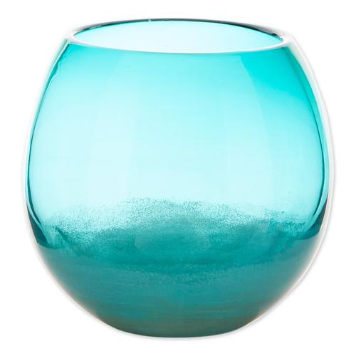 Fish Bowl Style Vase - Aqua Gradient 7.25 inches