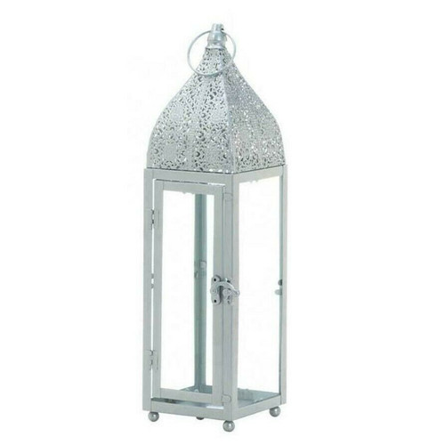 Silver Moroccan-Style Candle Lantern - 15 inches