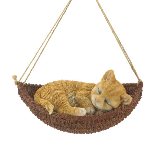 Napping Kitten on Hammock Hanging Figurine