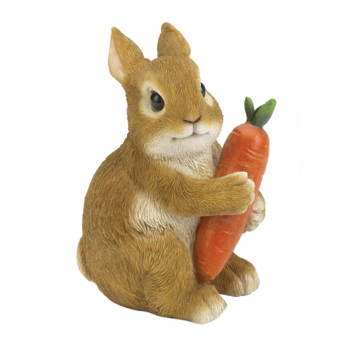 Rabbit Hugging Carrot Garden Figurine