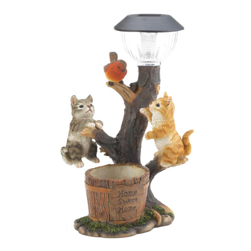 Climbing Cats with Bird Solar Garden Light with Flower Pot