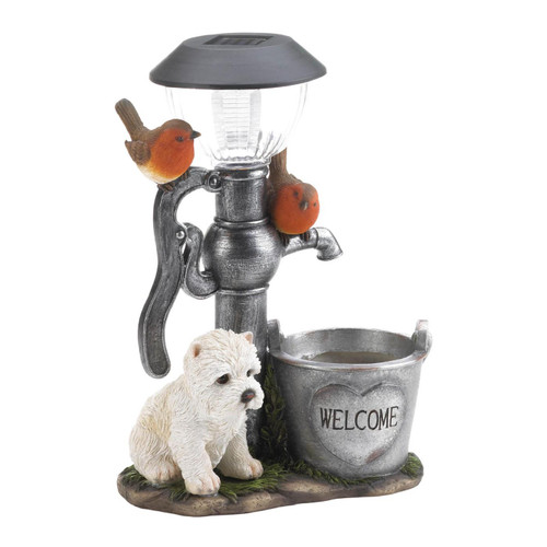 Terrier Puppy with Birds Solar Garden Light with Flower Pot