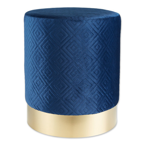 Vanity Stool with Gold Base - Navy Blue