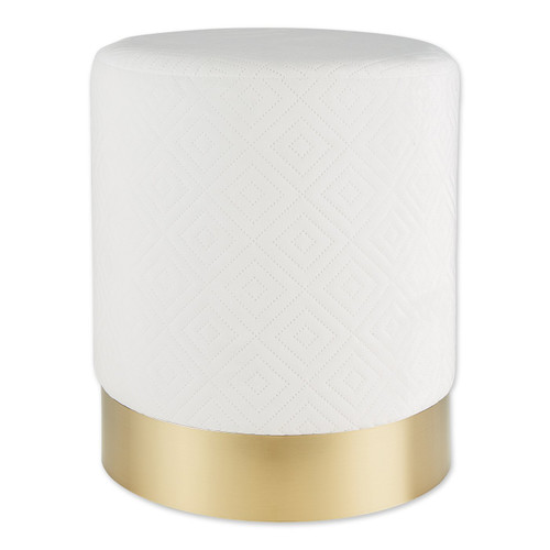 Vanity Stool with Gold Base - White