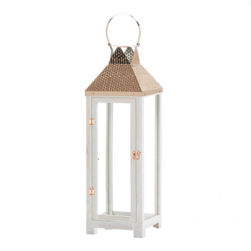 Rose Gold Hammered Top Candle Lantern - 27 inches