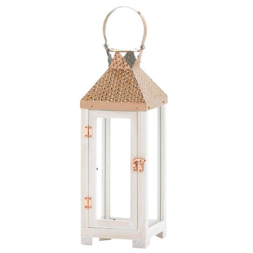 Rose Gold Hammered Top Candle Lantern - 18.5 inches