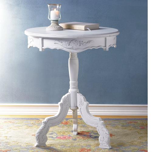 Romantic Three-Legged Carved Pedestal Table