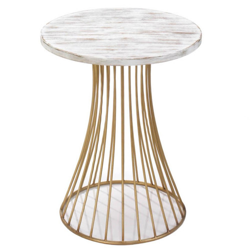 Santa Barbara Round Gold Accent Table with Whitewash Top